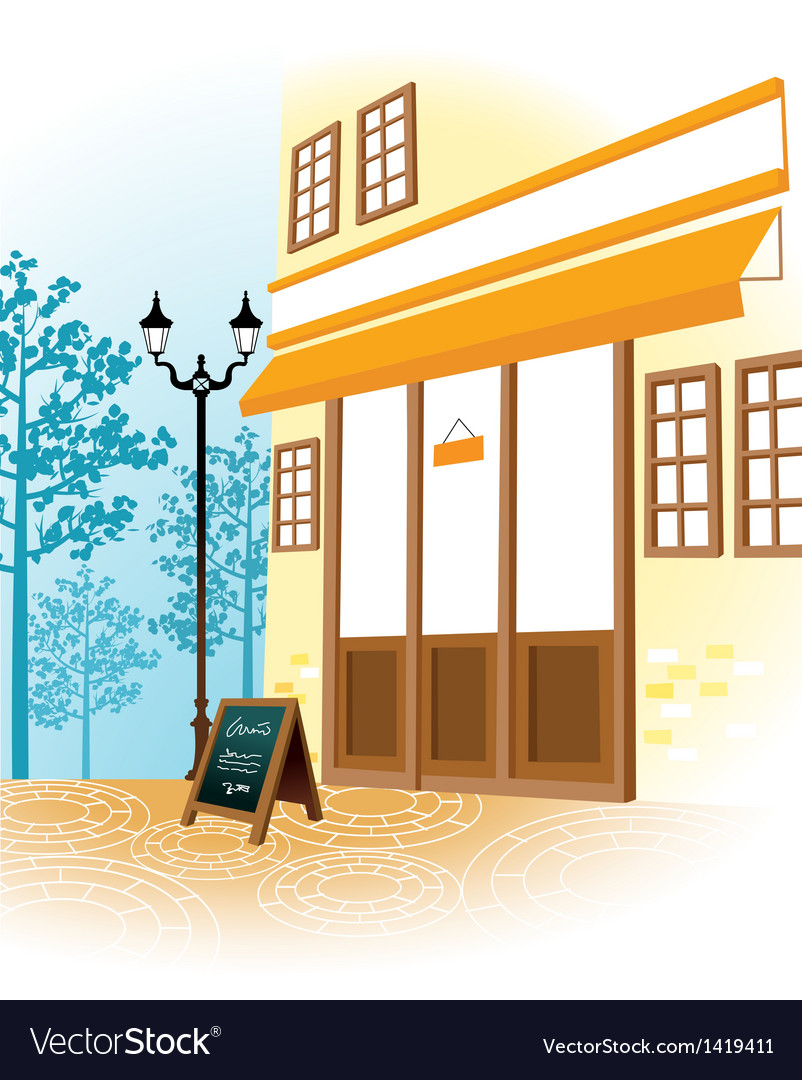 Cafe shopfront scene vector | Price: 1 Credit (USD $1)