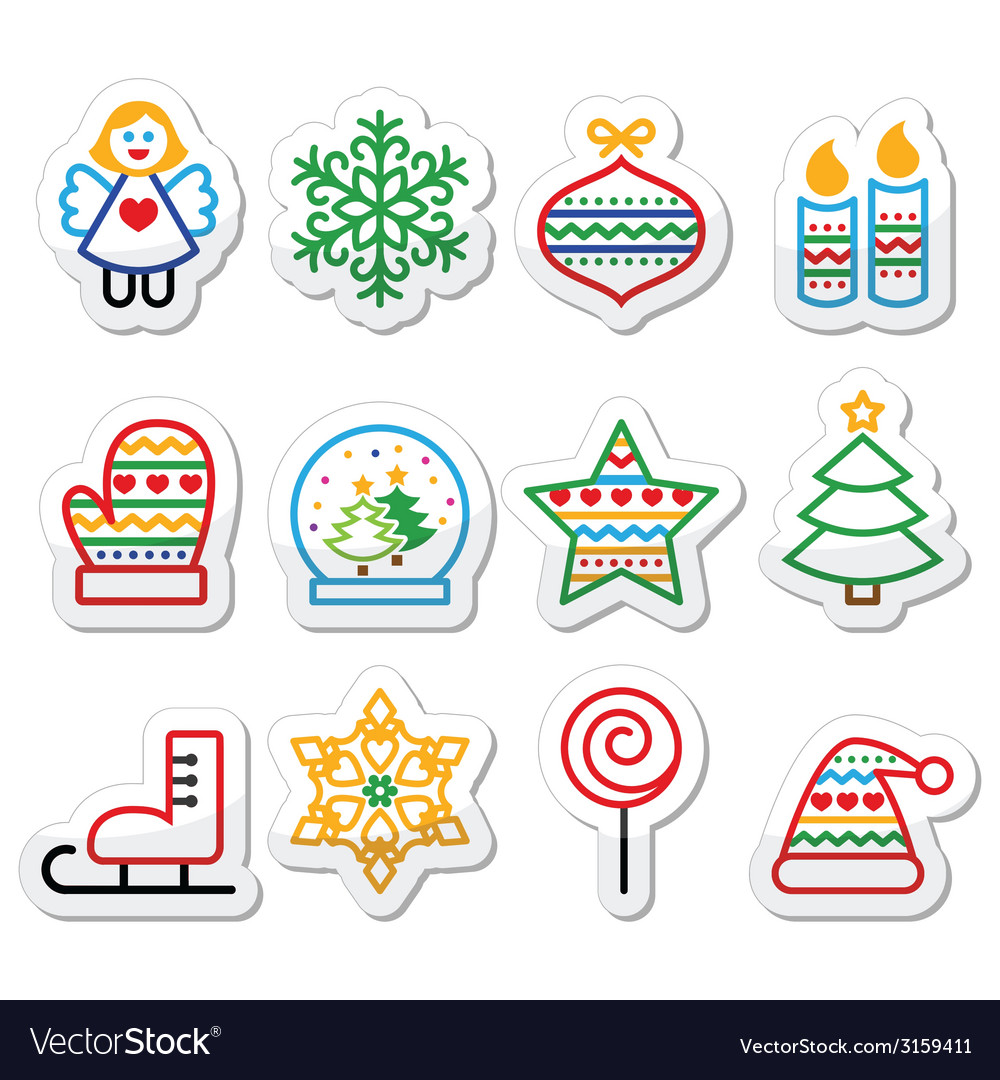 Christmas icons with stroke - xmas tree angel sn vector | Price: 1 Credit (USD $1)