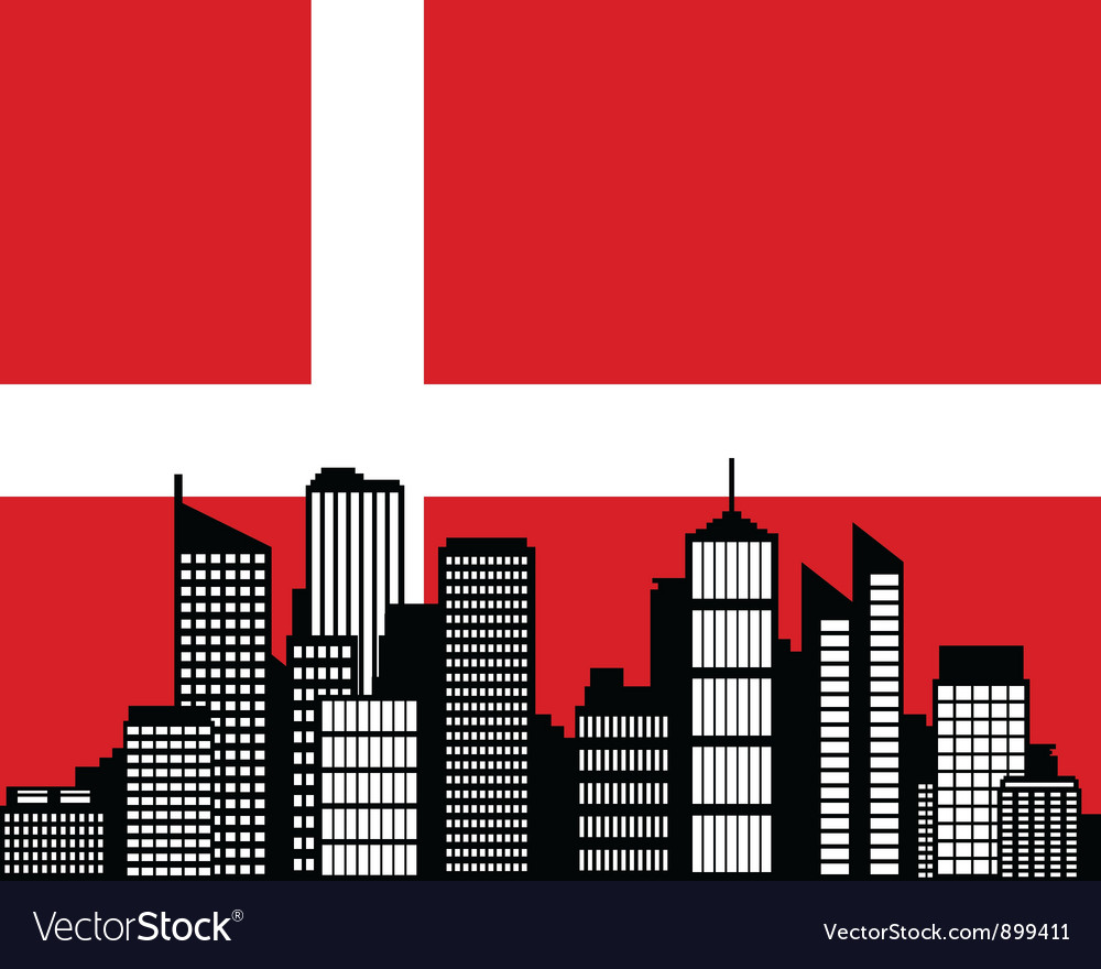 City and flag of denmark vector | Price: 1 Credit (USD $1)
