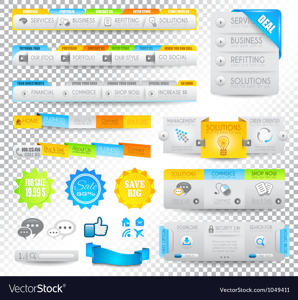 Collection of web elements - various templates vector | Price: 3 Credit (USD $3)