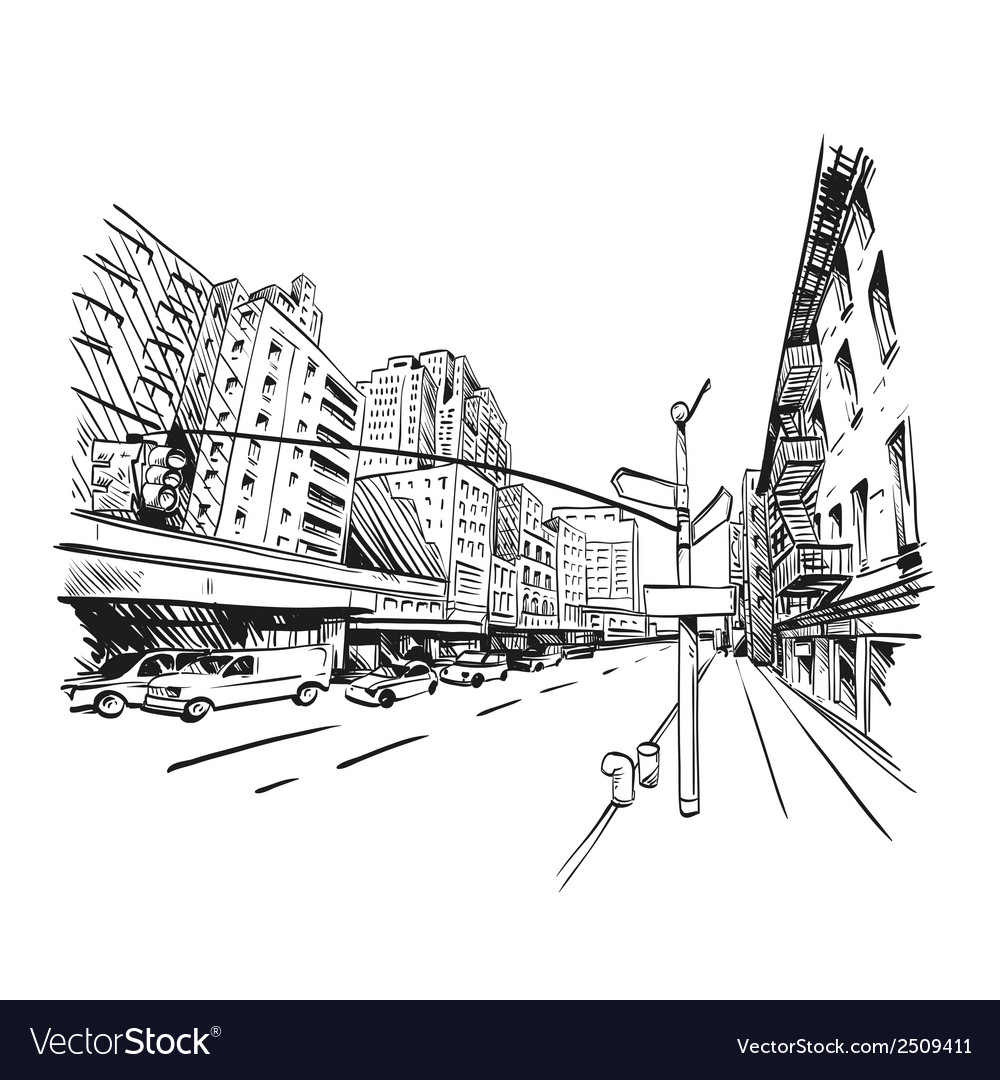 Hand drawn cityscape vector | Price: 1 Credit (USD $1)