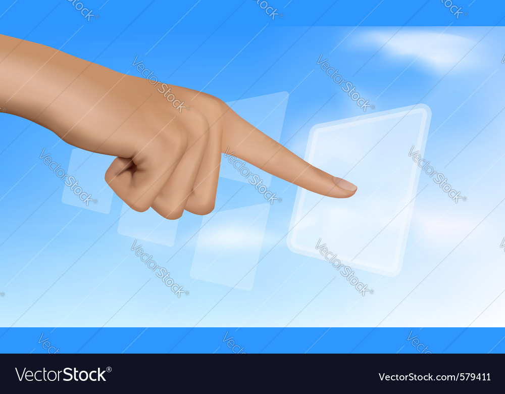 Hand touching a button vector   Price: 3 Credit (USD $3)