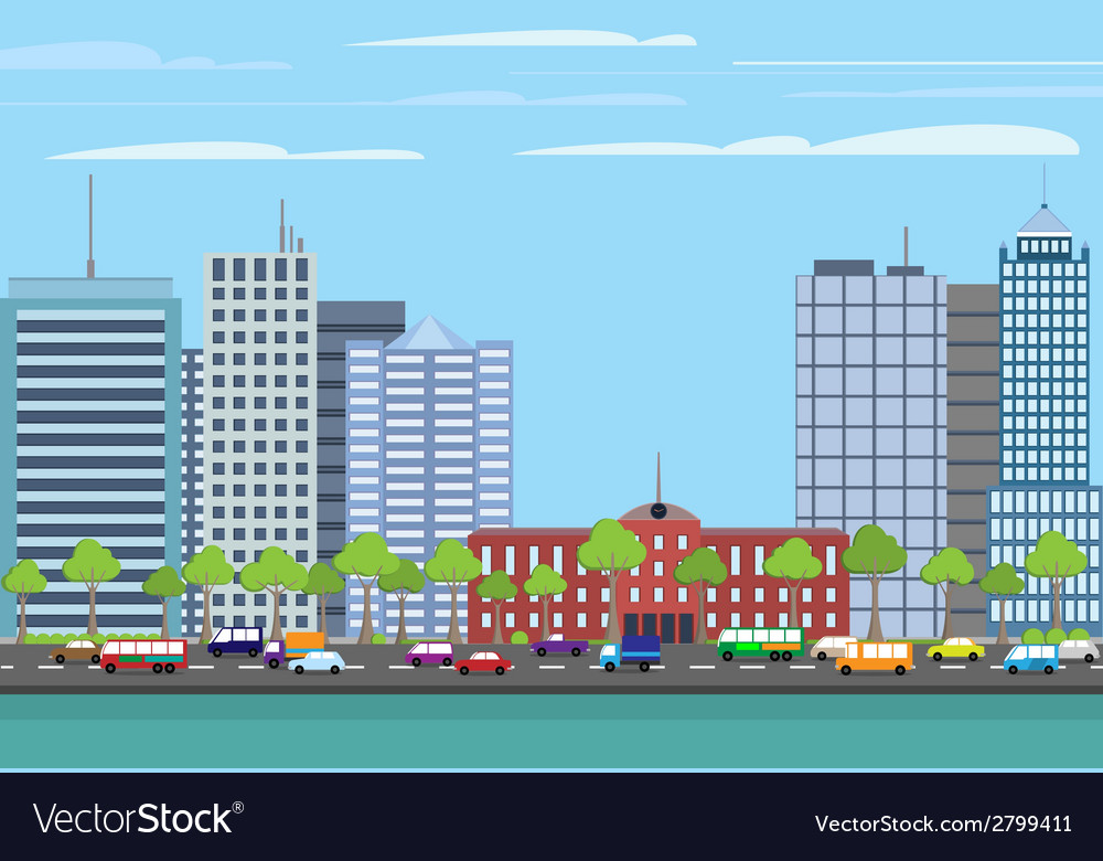 Modern buildings cityscape vector | Price: 1 Credit (USD $1)