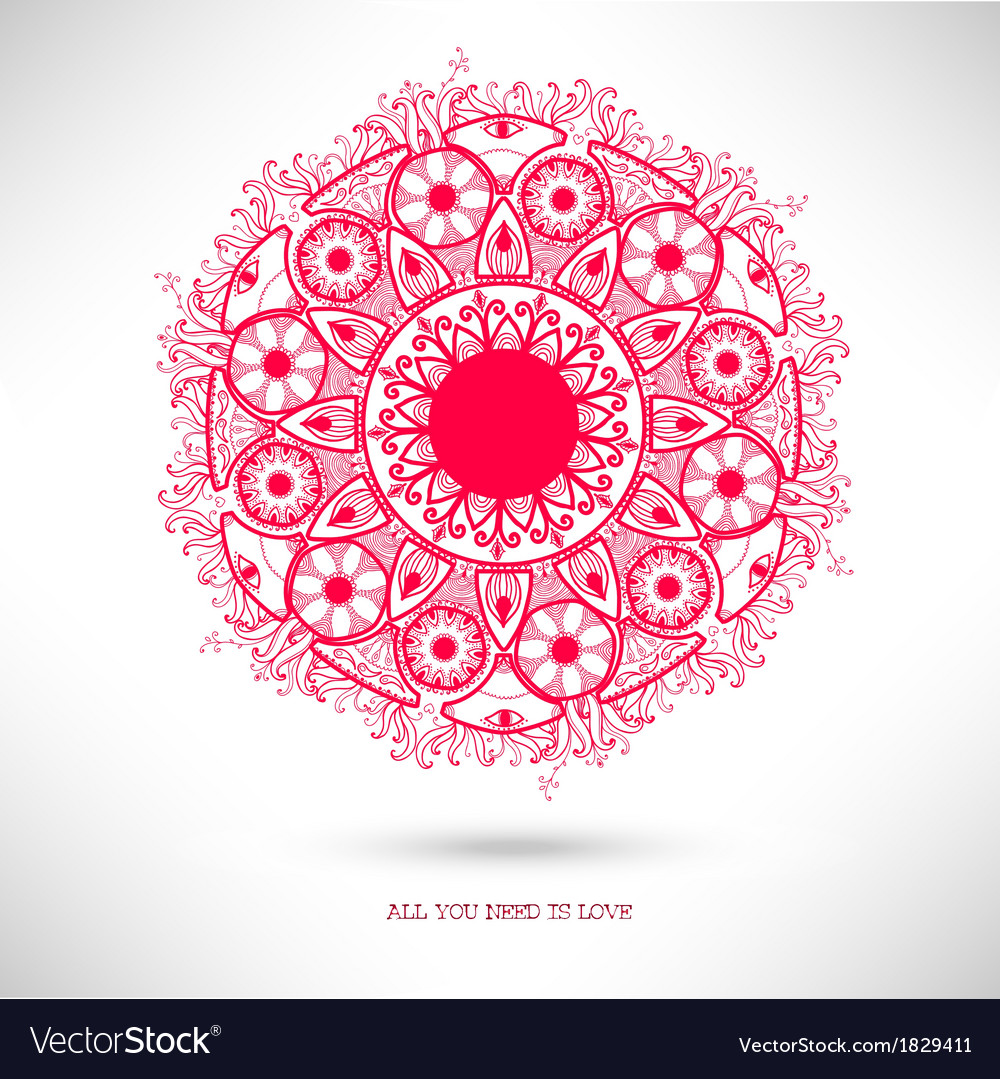 Ornamental round lace patternvalentines day card vector | Price: 1 Credit (USD $1)