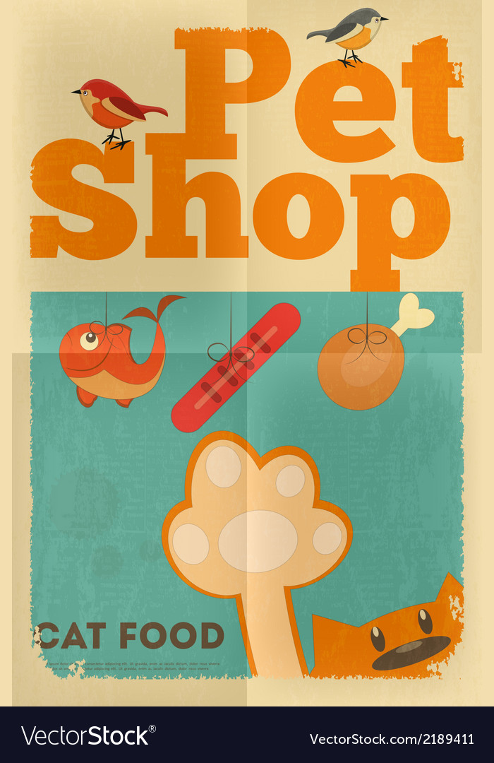 Pet shop poster cat vector | Price: 1 Credit (USD $1)