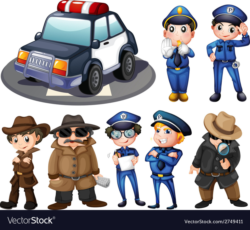 Police and detectives vector