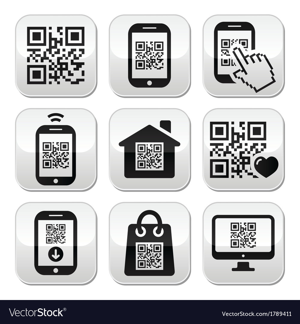 Qr code on mobile or cell phone buttons set vector | Price: 1 Credit (USD $1)
