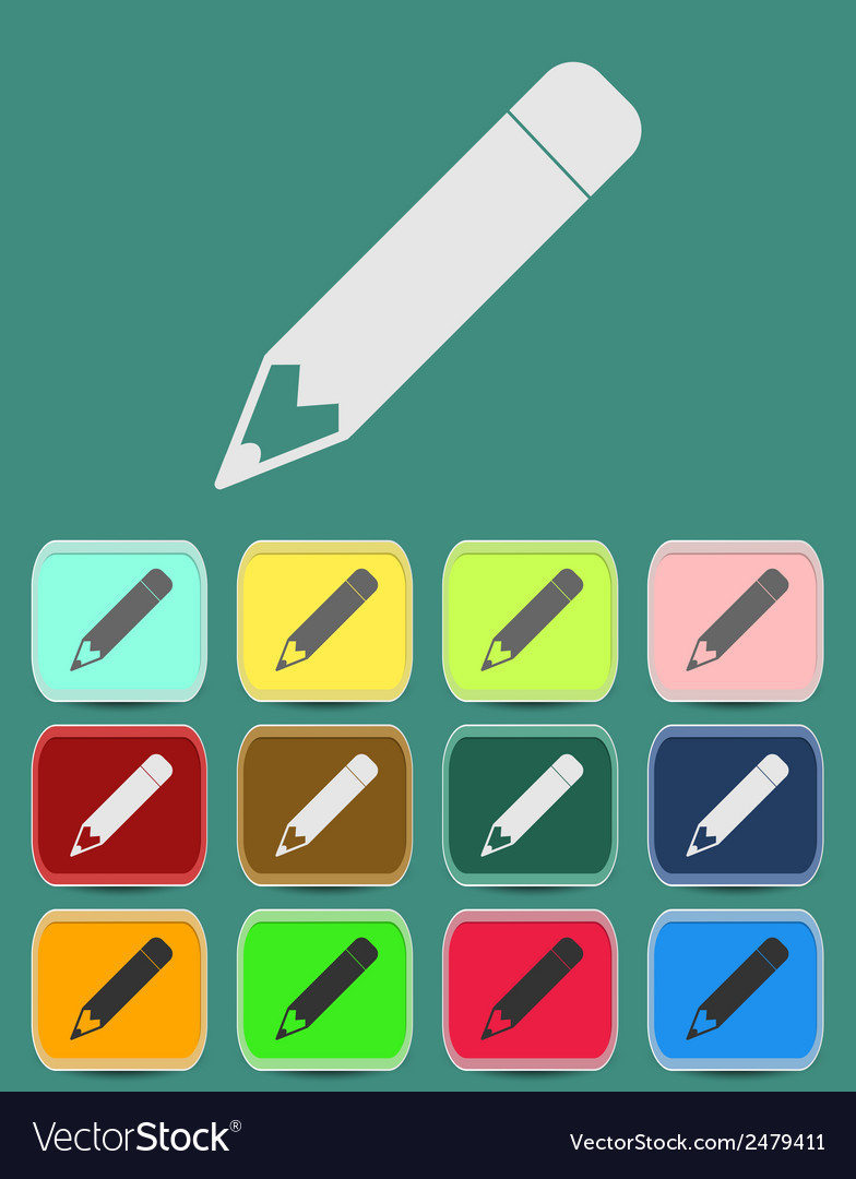 School pencil icon with color variations vector | Price: 1 Credit (USD $1)