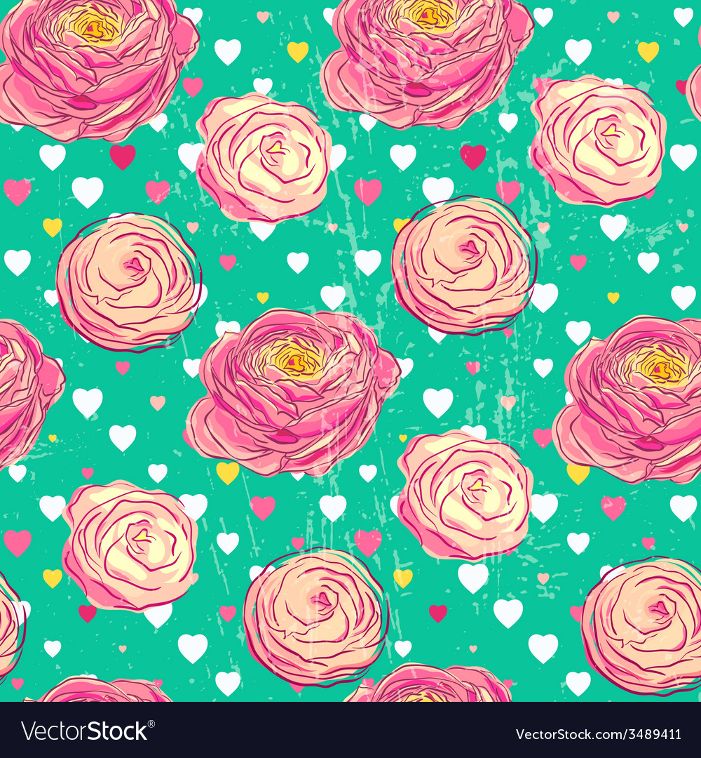 Seamless pattern with blooming flowers vector | Price: 1 Credit (USD $1)