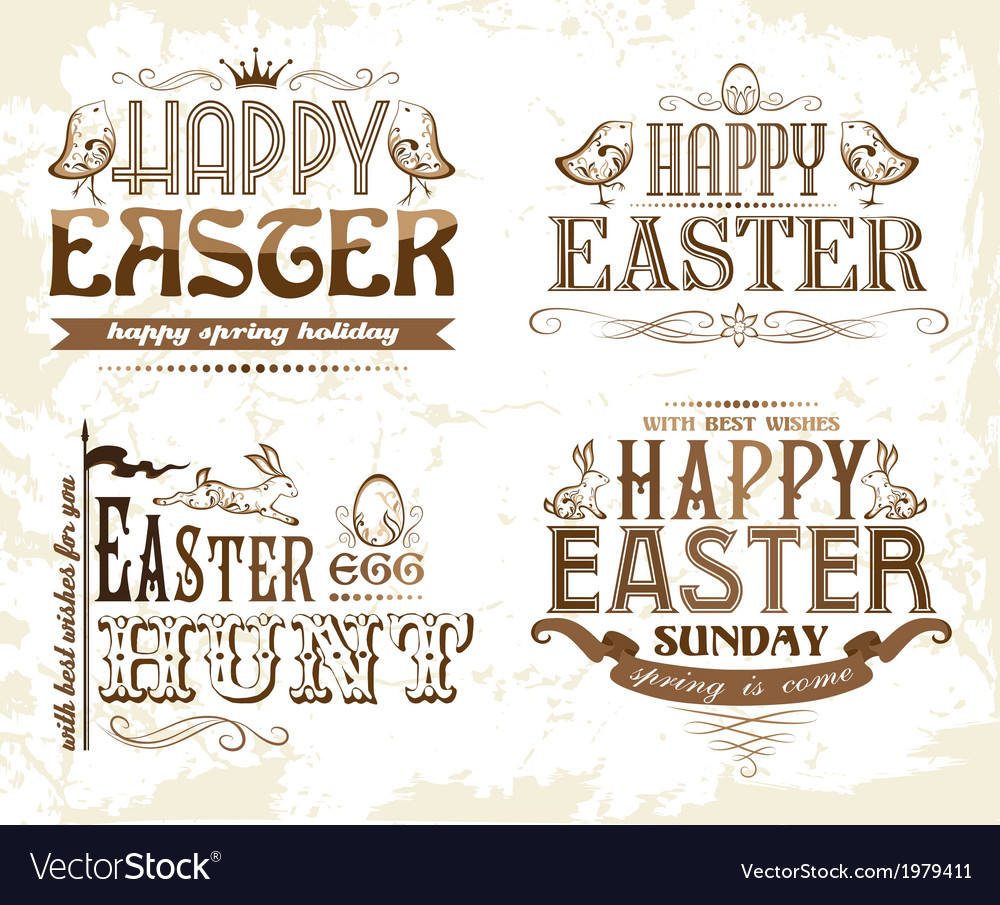 Set of easter typography elements vector | Price: 1 Credit (USD $1)