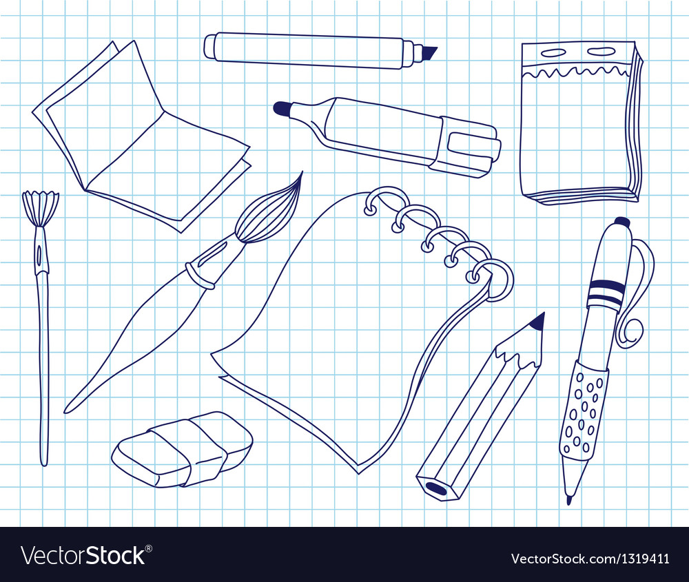 Set of office tools vector | Price: 1 Credit (USD $1)