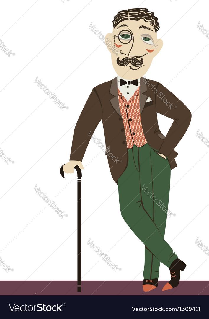 Vintage gentleman with cane vector | Price: 1 Credit (USD $1)