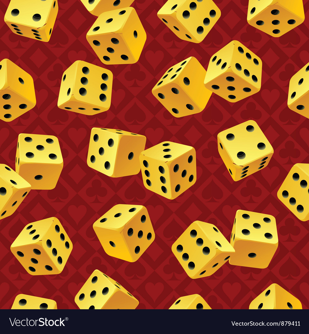 Yellow dice seamless background vector | Price: 1 Credit (USD $1)