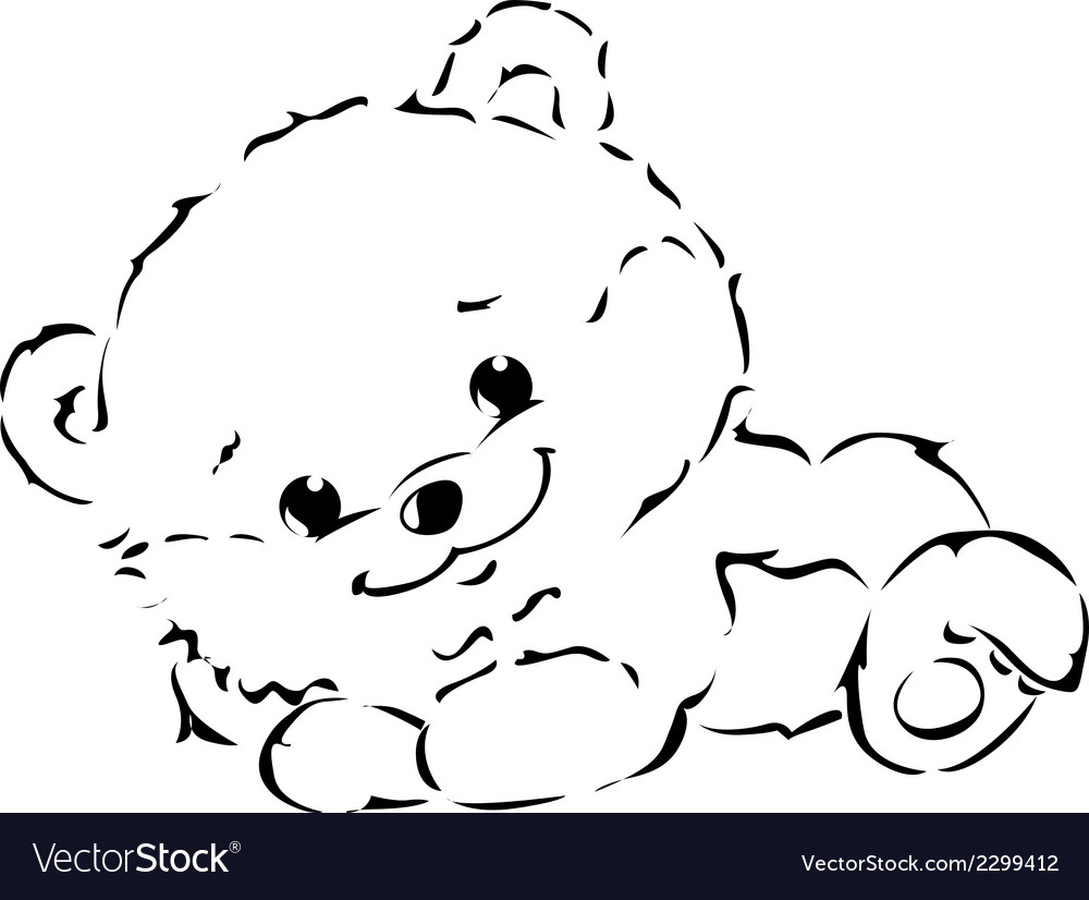 Black outline of cute bear vector | Price: 1 Credit (USD $1)