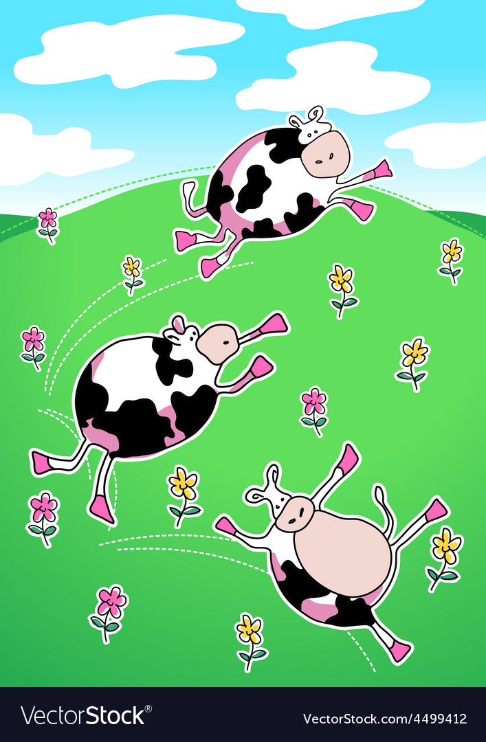 Cows on a green hill dancing vector | Price: 1 Credit (USD $1)