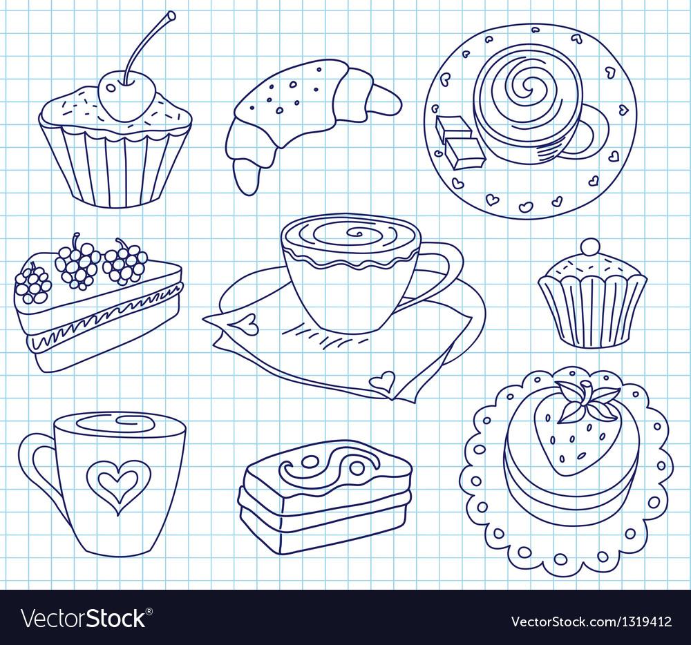 Doodle coffee set vector | Price: 1 Credit (USD $1)