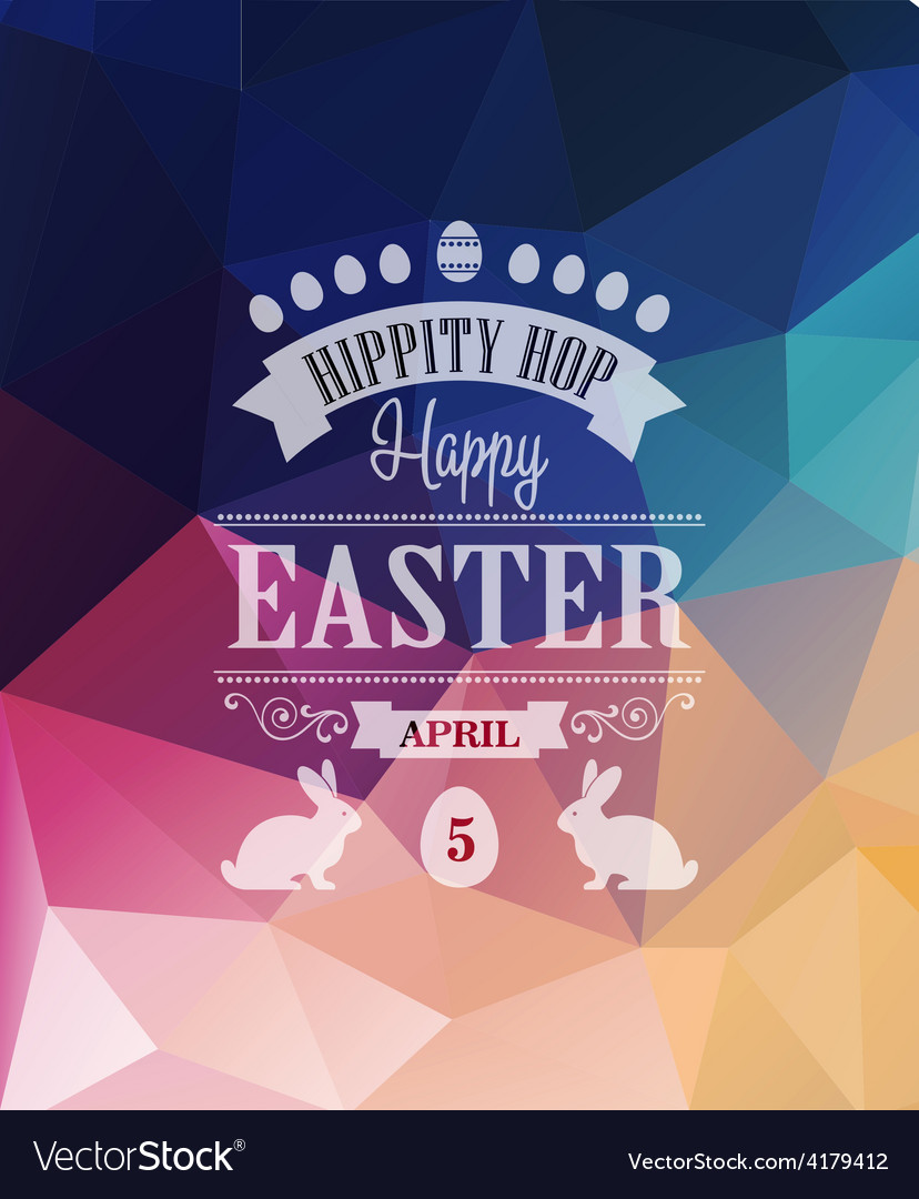 Happy easter typographical poster vector | Price: 1 Credit (USD $1)