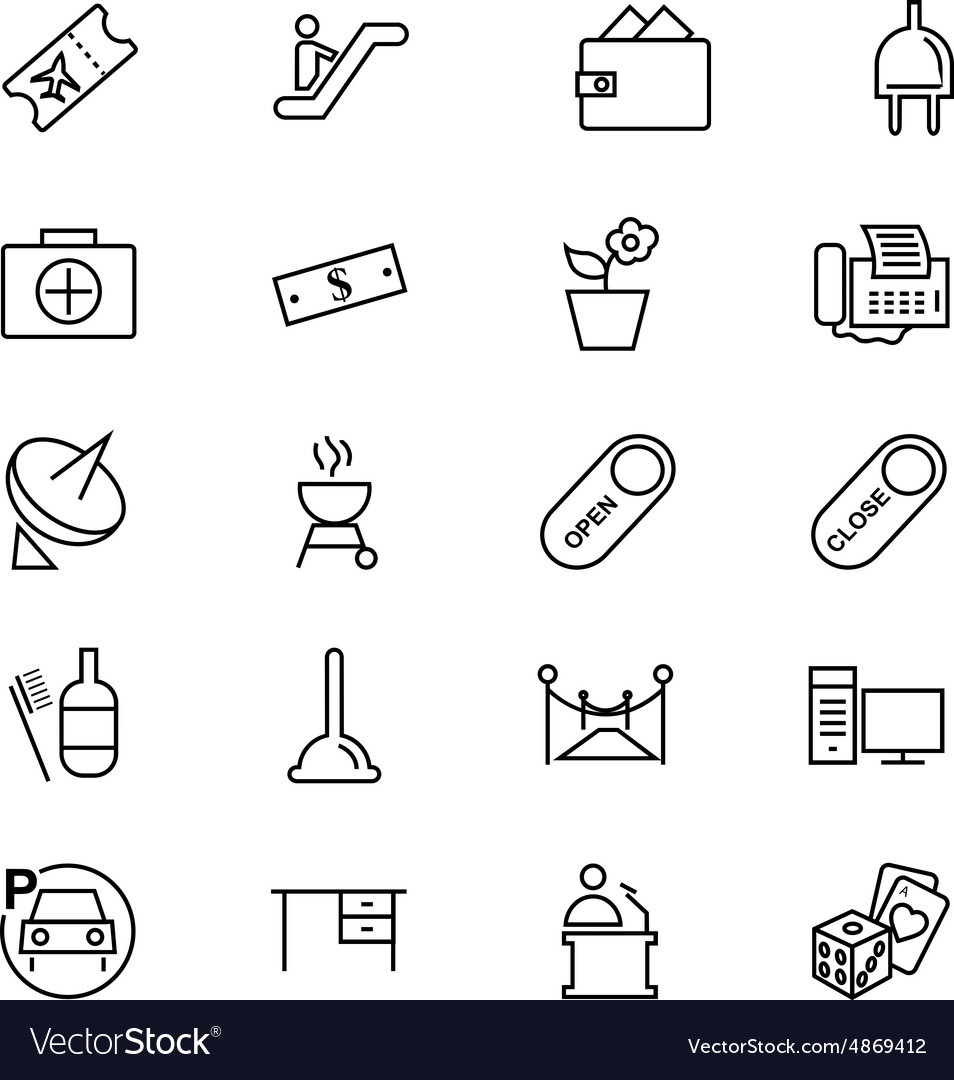 Hotel and restaurant line icons 4 vector