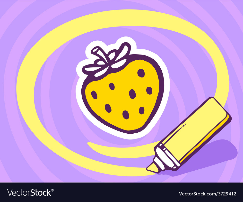 Marker drawing circle around strawberry o vector | Price: 1 Credit (USD $1)