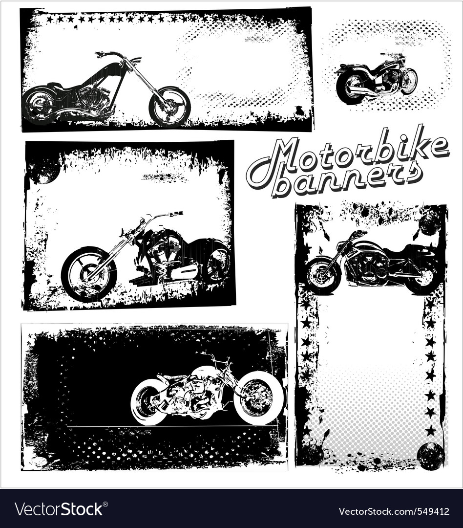 Motor bike grunge banners vector | Price: 1 Credit (USD $1)