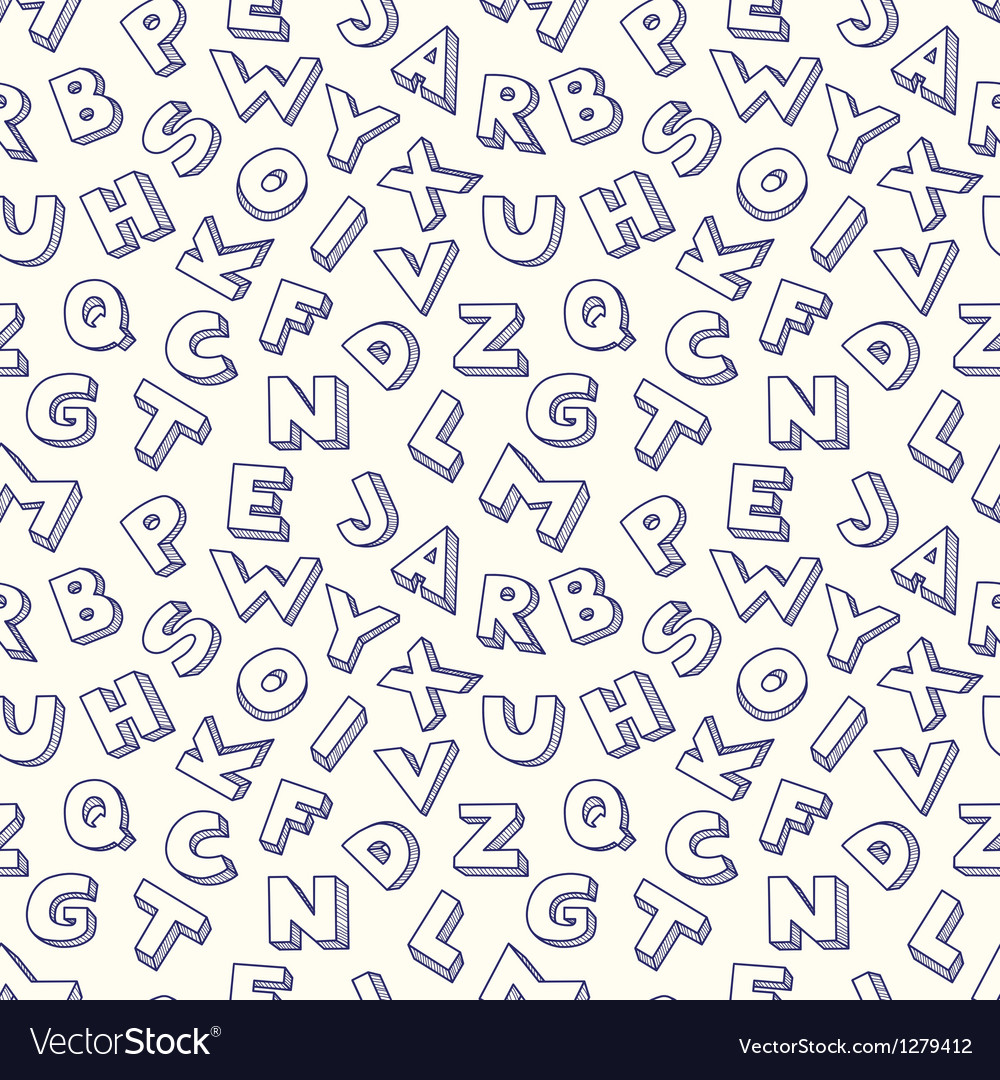 Scribble alphabet seamless pattern vector