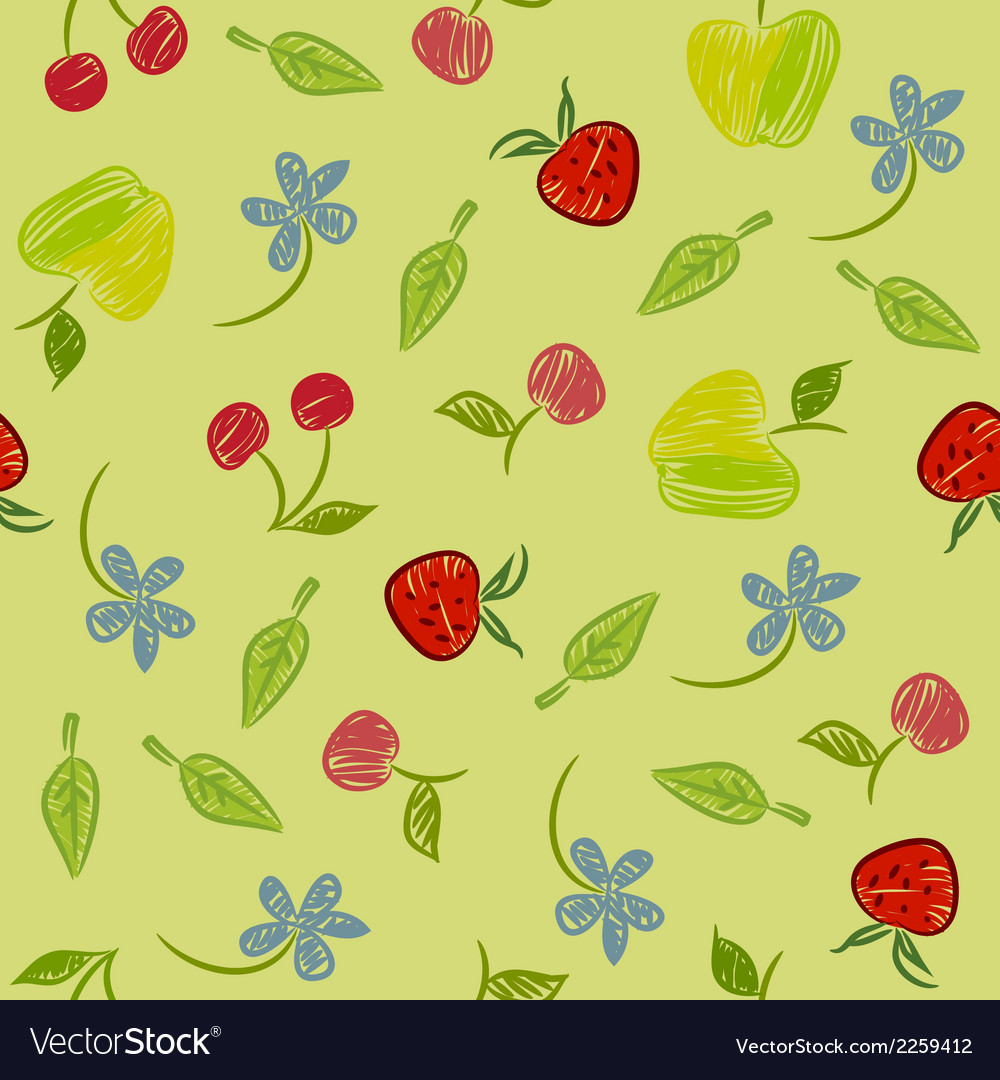 Seamless background with fruits and berries vector | Price: 1 Credit (USD $1)
