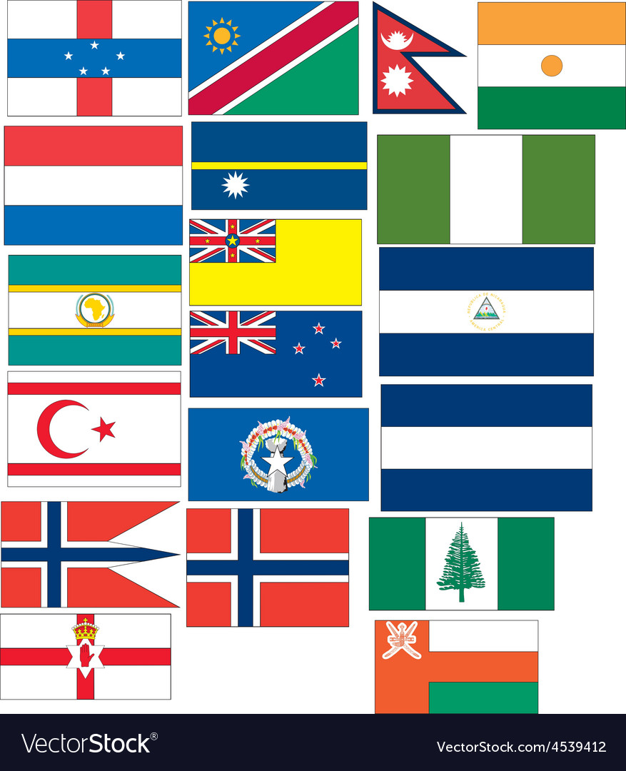 Set of 19 flags countries started with n and o vector | Price: 1 Credit (USD $1)