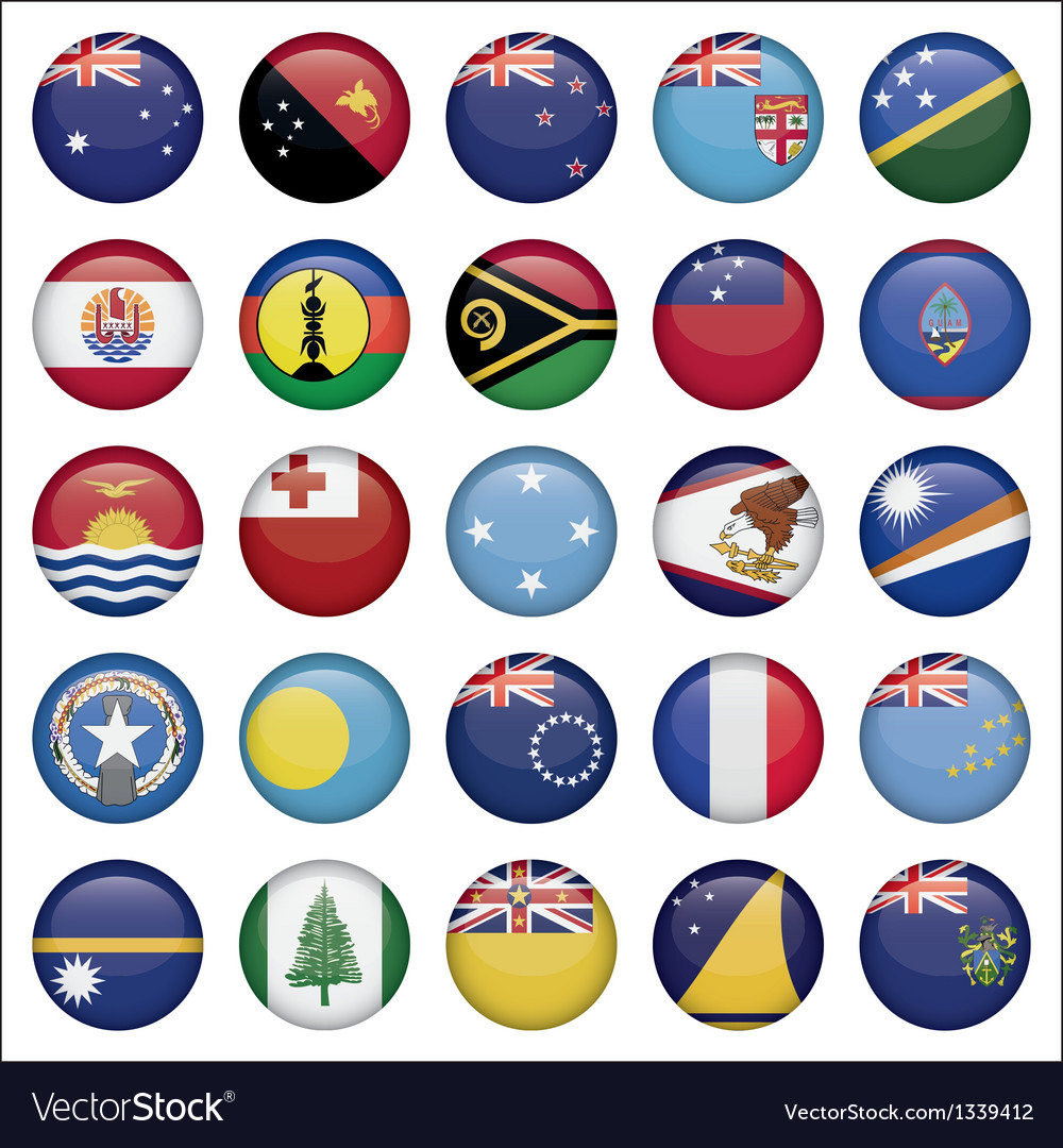 Set of australian oceania round flag icons vector | Price: 1 Credit (USD $1)