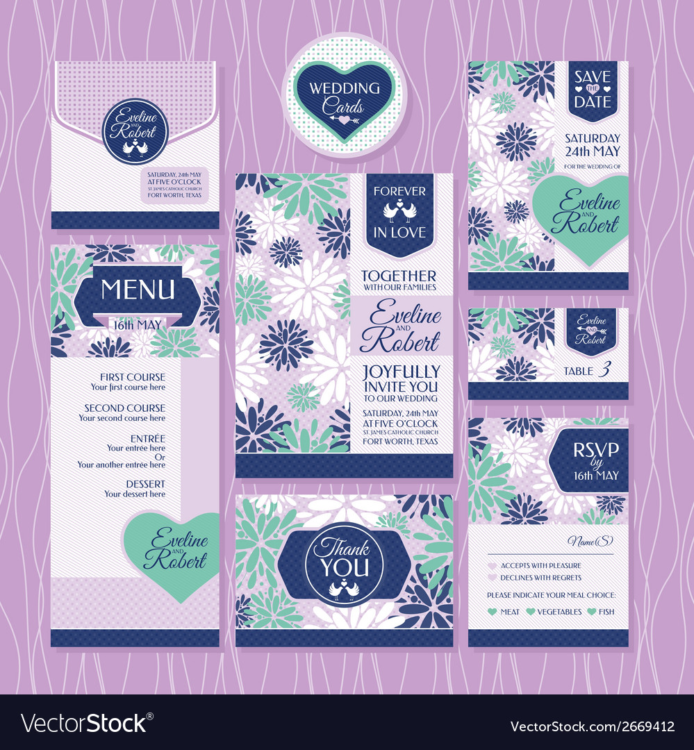 Set of wedding cards vector | Price: 1 Credit (USD $1)