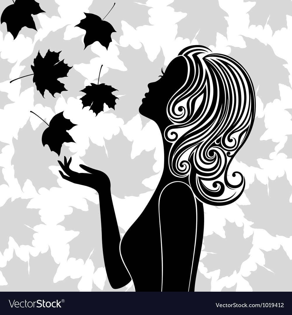 Silhouette of young woman with flying leaves vector   Price: 1 Credit (USD $1)