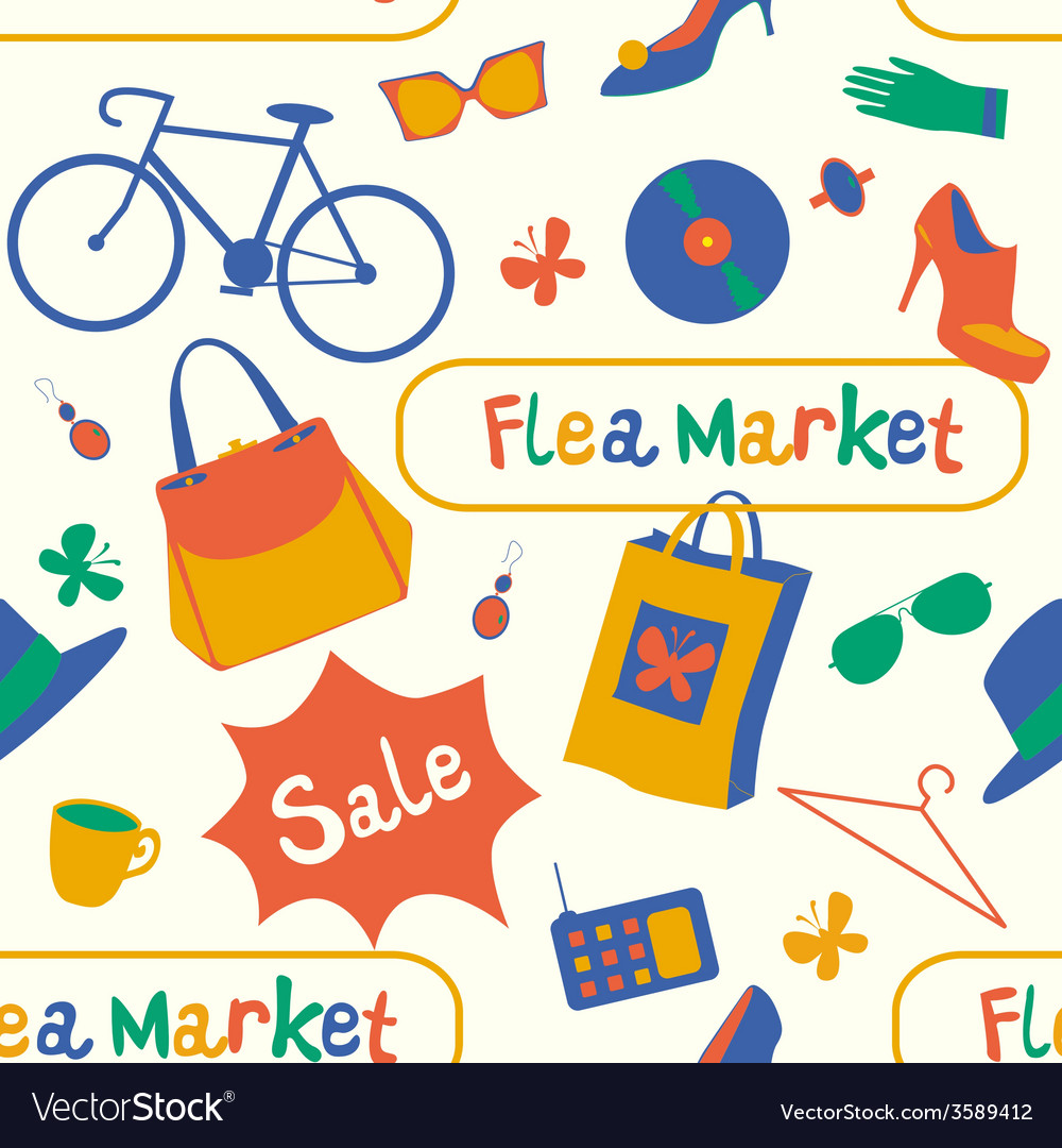 Summer flea market seamless pattern vector | Price: 1 Credit (USD $1)