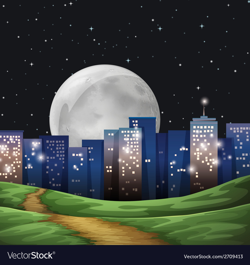 A bright fullmoon in the city vector | Price: 1 Credit (USD $1)