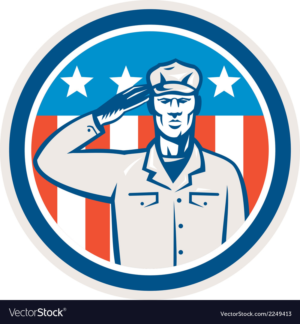 American soldier salute flag circle retro vector | Price: 1 Credit (USD $1)