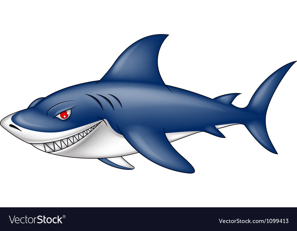 Angry blue shark vector | Price: 3 Credit (USD $3)