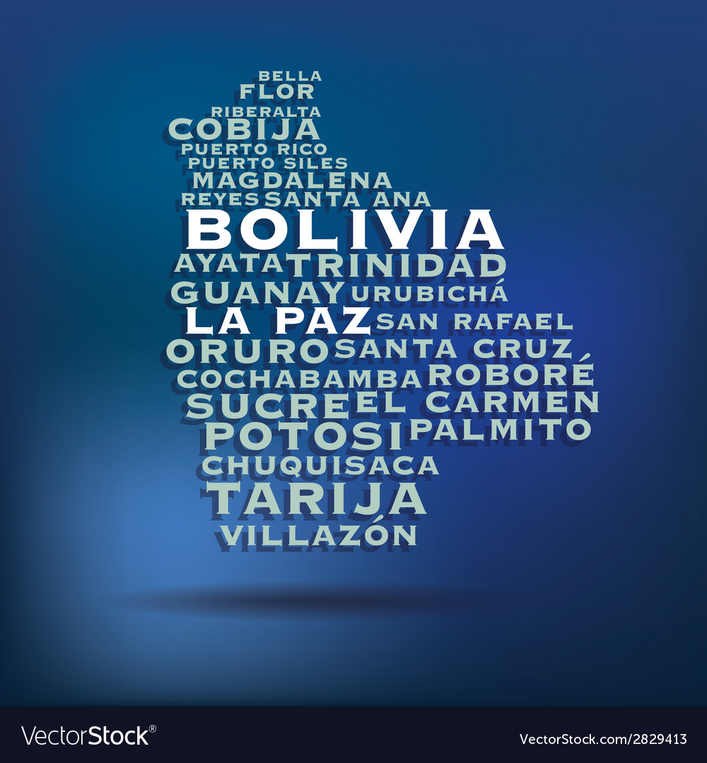 Bolivia map made with name of cities vector | Price: 1 Credit (USD $1)