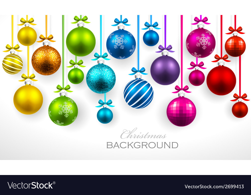 Christmas balls with ribbon and bows vector