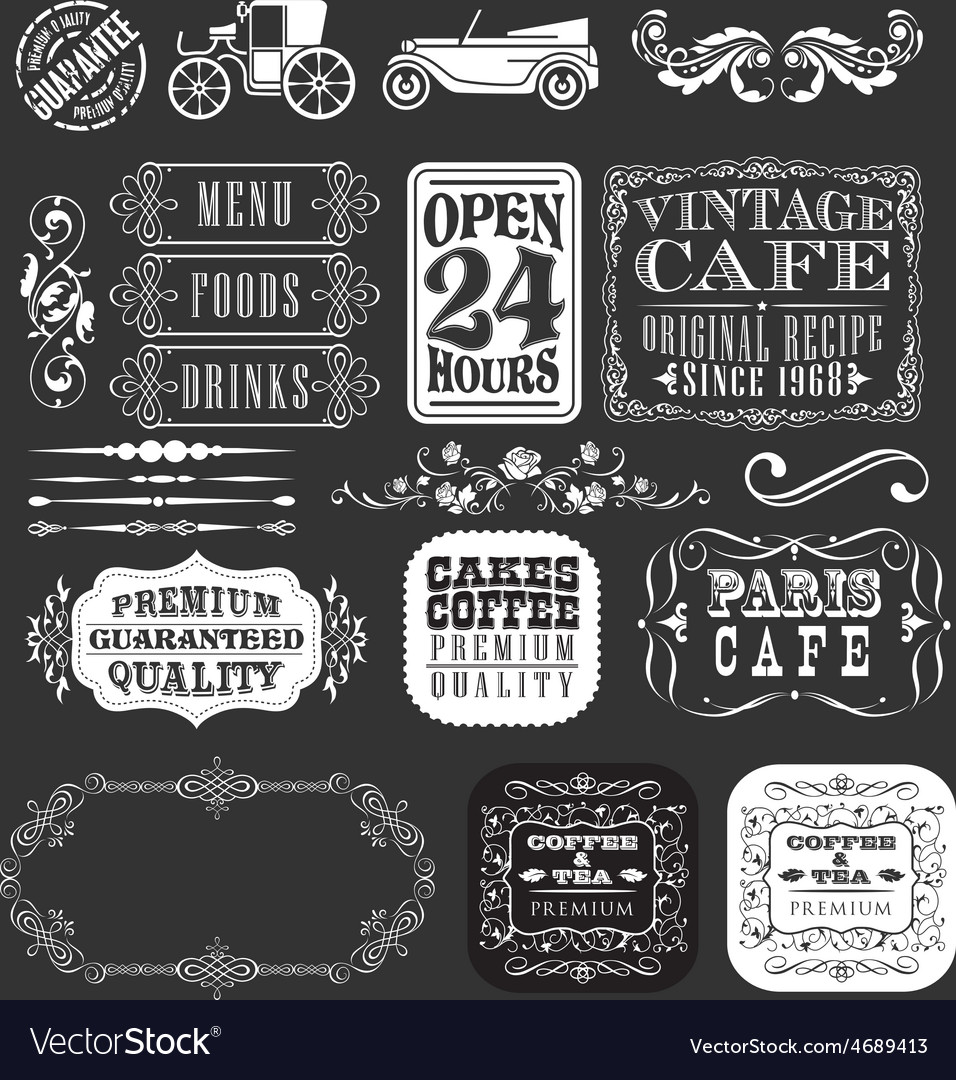 Decorative vintage elements and ribbons set vector | Price: 3 Credit (USD $3)