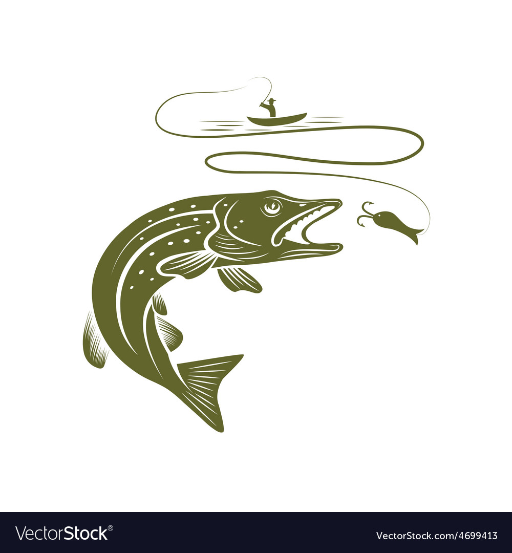 Fisherman in a boat and pike vector | Price: 1 Credit (USD $1)