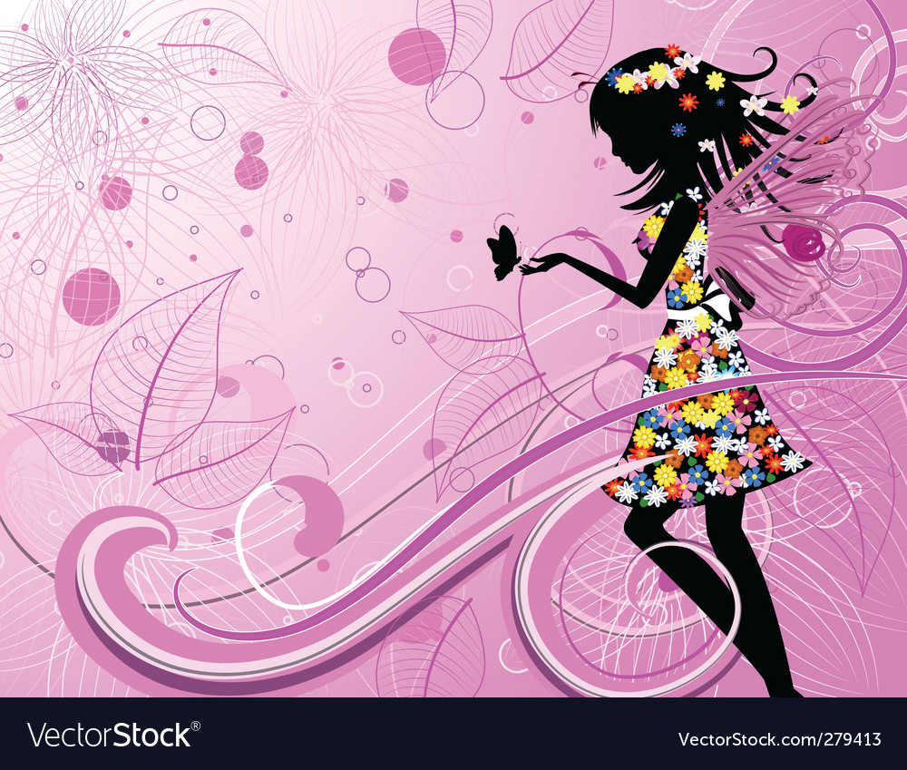 Flower fairy with butterflies vector | Price: 1 Credit (USD $1)