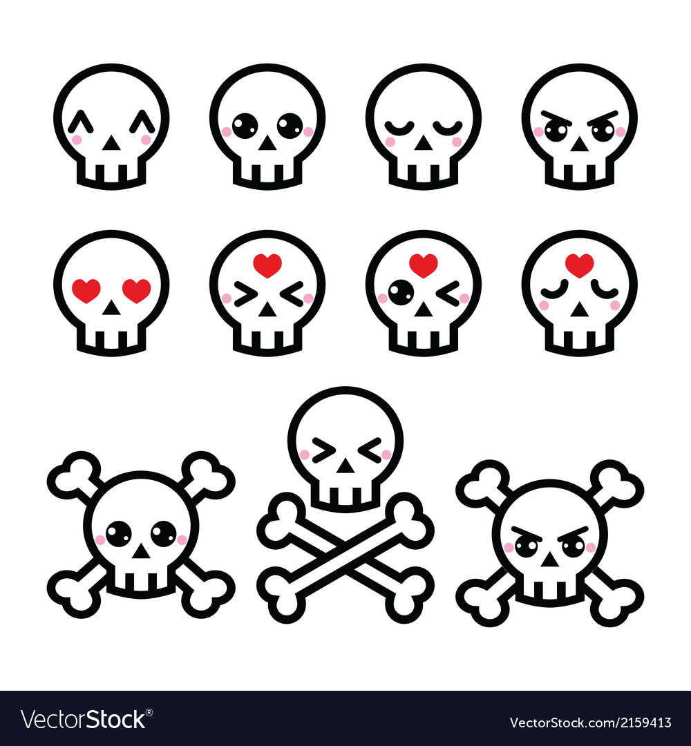 Kawaii cute halloween skull icons set vector | Price: 1 Credit (USD $1)