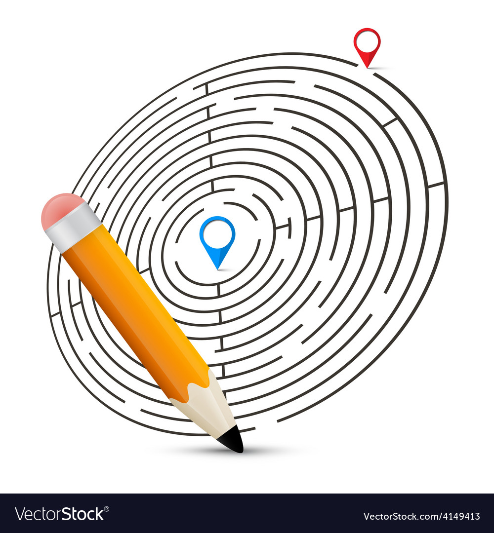 Maze with labels and pencil vector   Price: 1 Credit (USD $1)