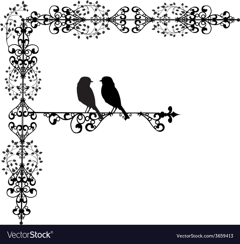 Ornament two bird in love vector