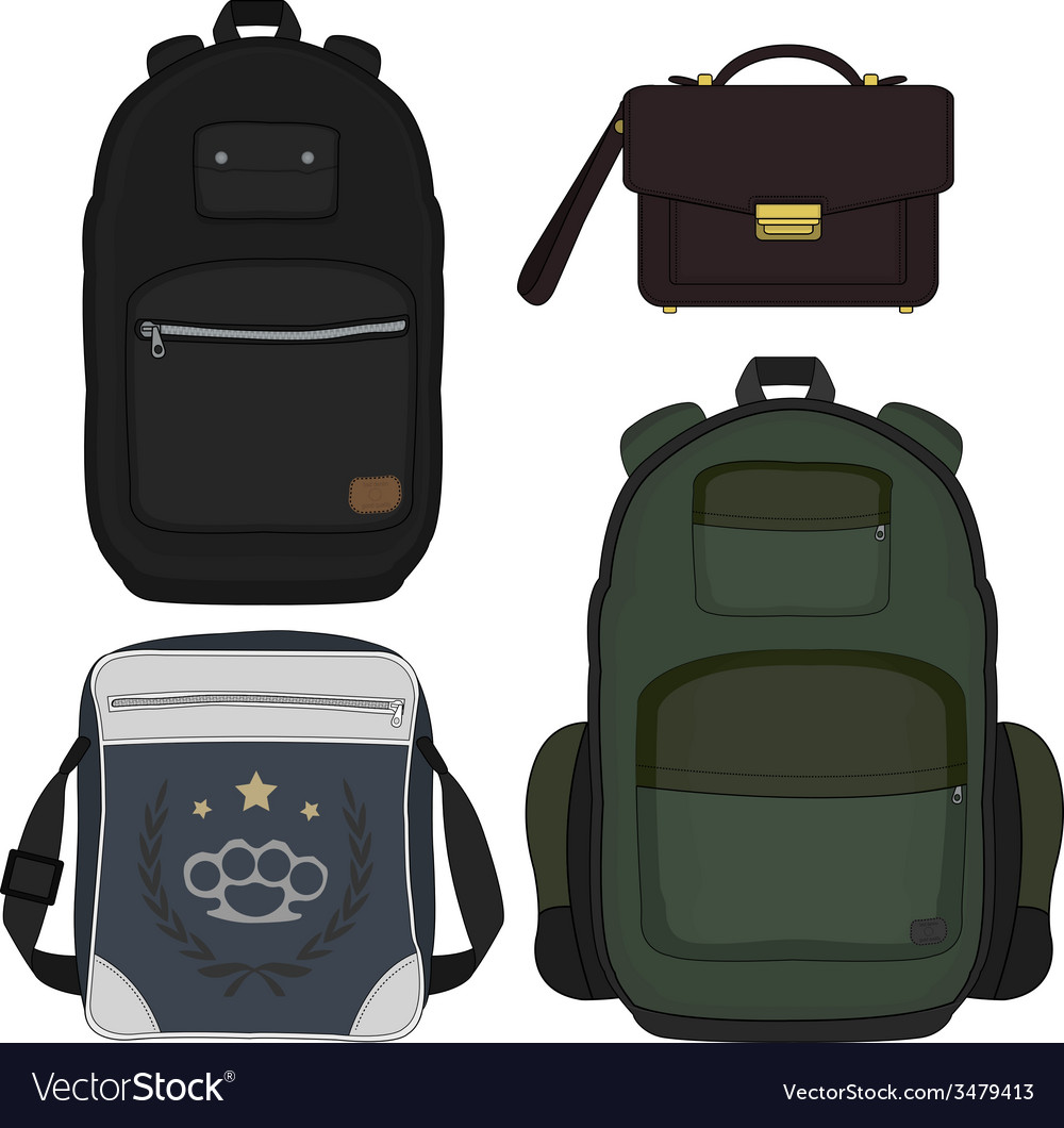 Set of 4 fashionable men bags color vector | Price: 1 Credit (USD $1)