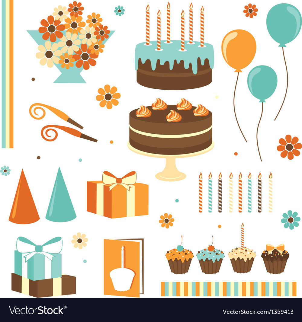 Set of celebration design elements vector | Price: 1 Credit (USD $1)