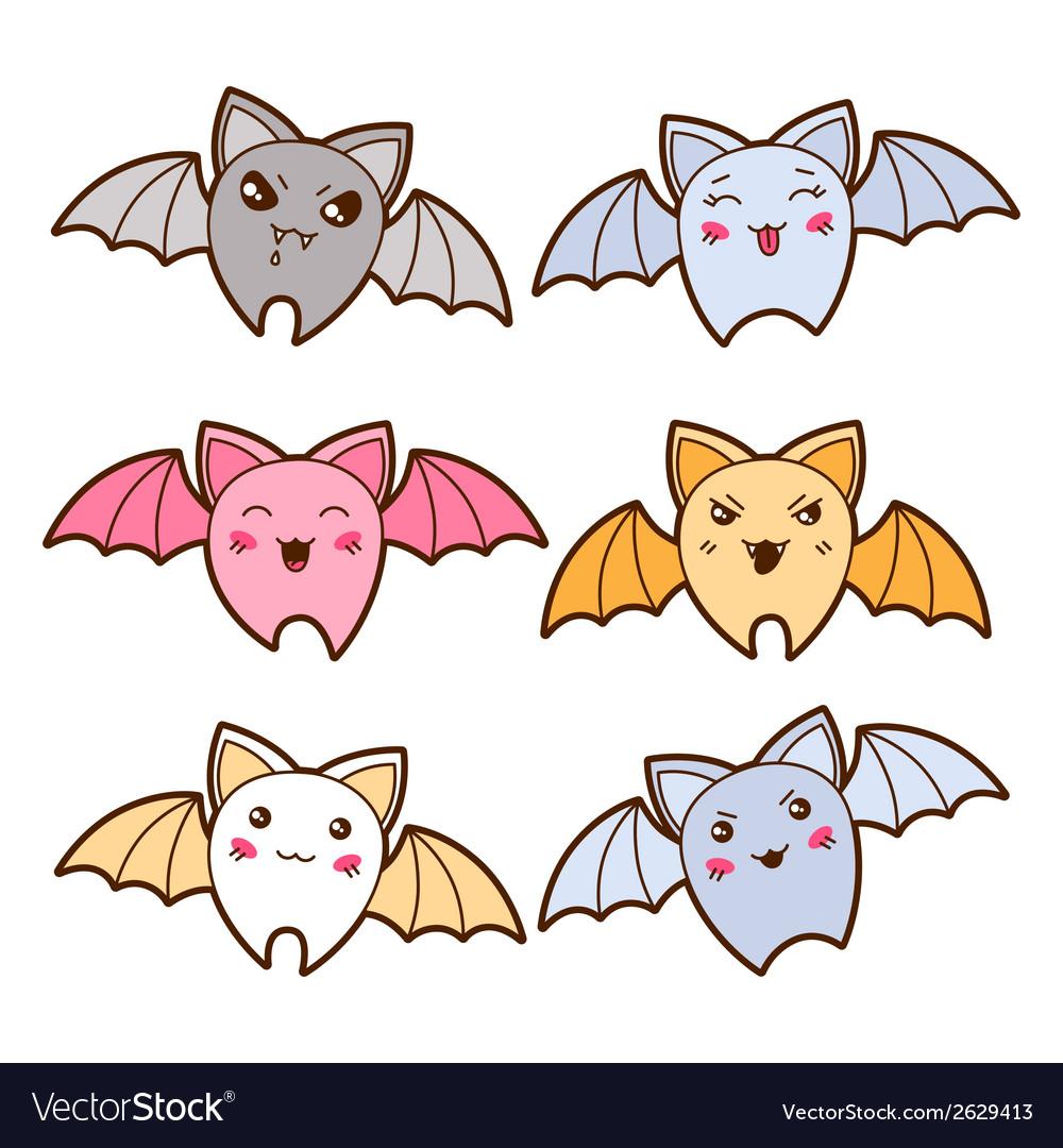 Set of kawaii bats with different facial vector | Price: 1 Credit (USD $1)