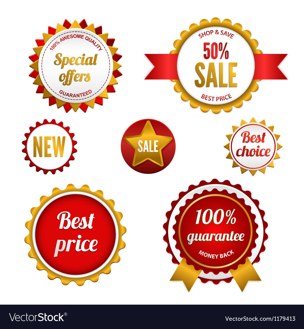 Set of sale badges labels and stickers vector | Price: 1 Credit (USD $1)