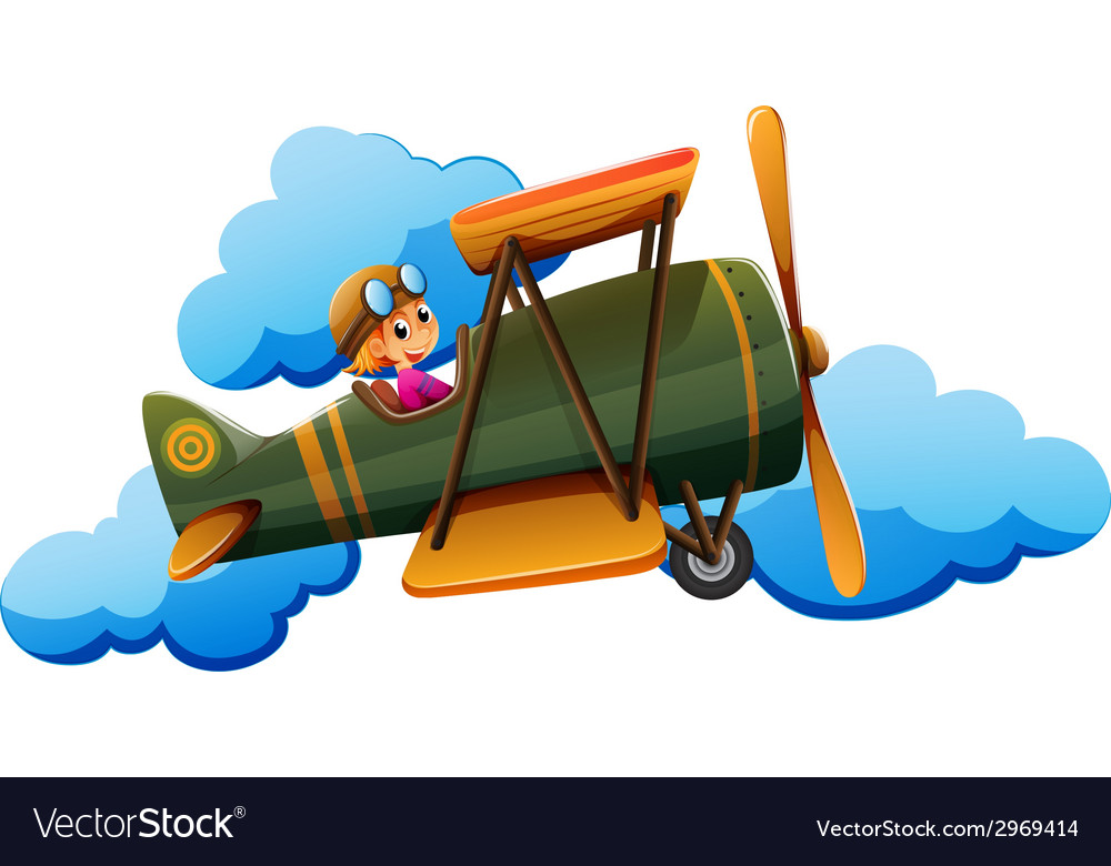 A boy on a plane vector | Price: 1 Credit (USD $1)