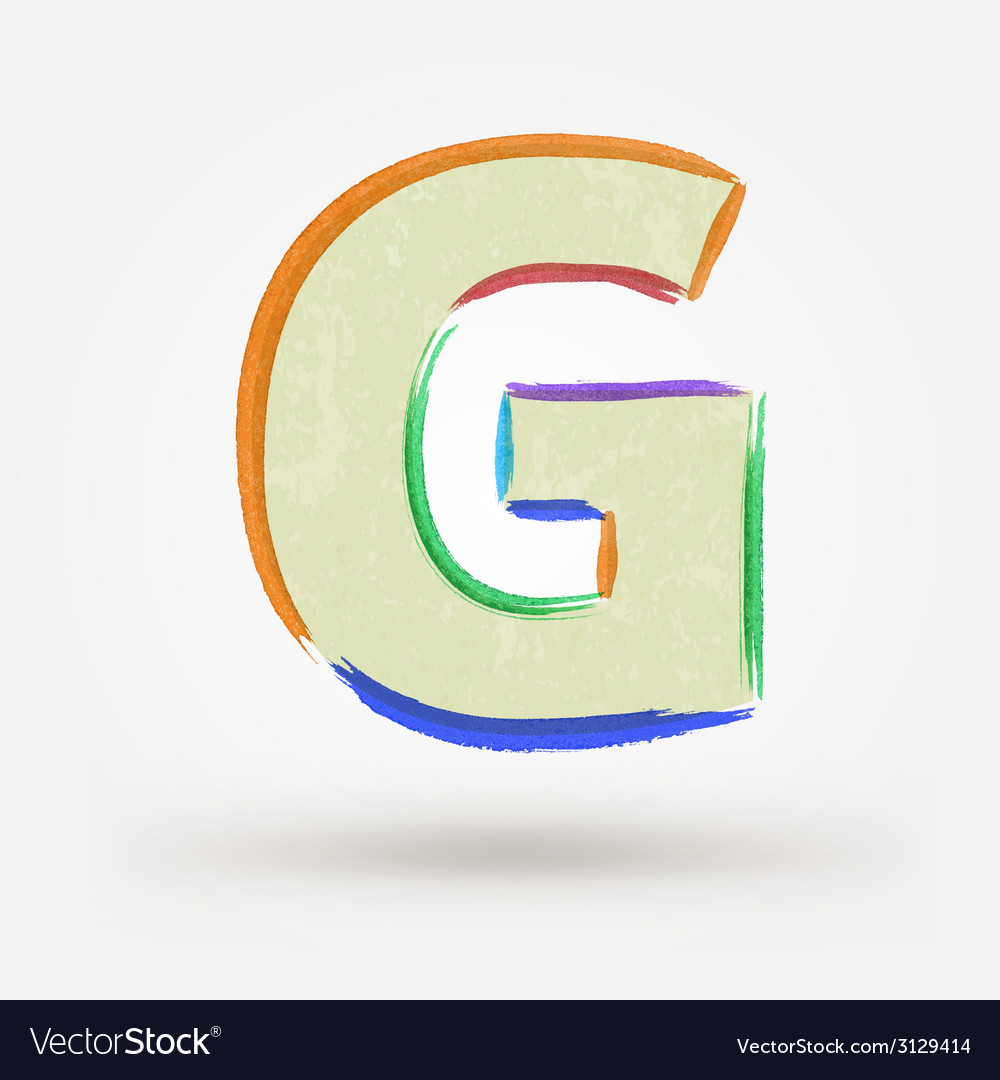 Alphabet letter g watercolor paint design element vector | Price: 1 Credit (USD $1)