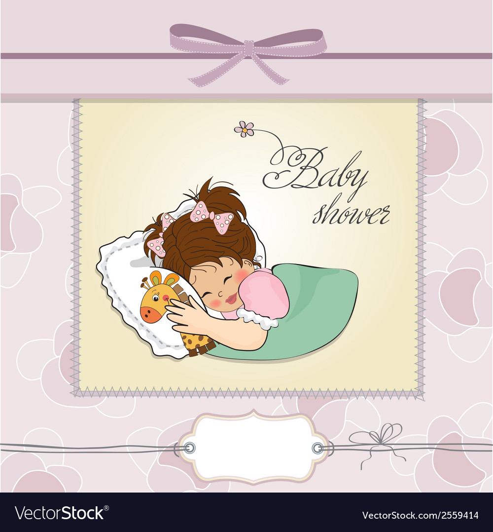 Baby shower card with little girl and her toy vector   Price: 1 Credit (USD $1)
