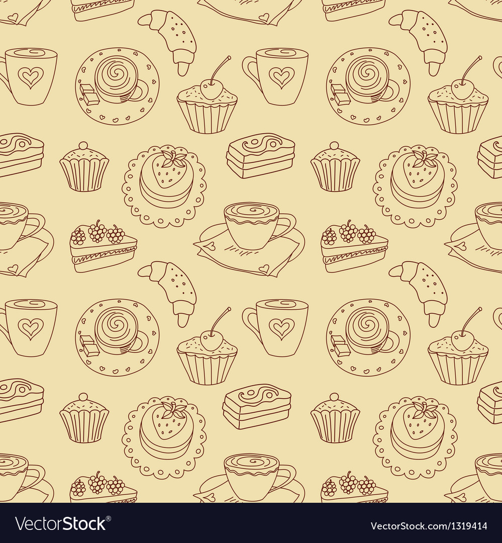 Coffee seamless line pattern vector | Price: 1 Credit (USD $1)